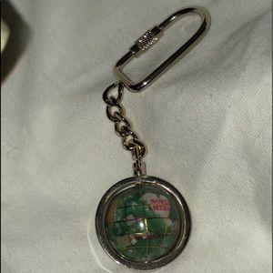 "NEW Gemstone Key Chain Original Box Globe spins 4"""